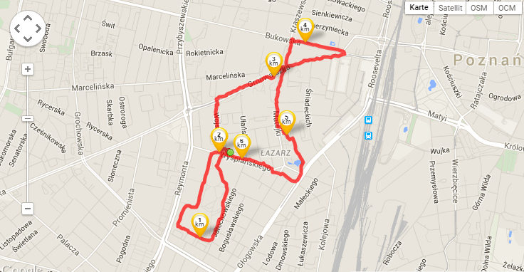 My jogging route through Poznan (tracked by Runtastic)