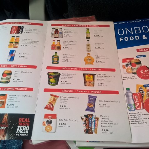 Czech Airlines ATR 42 Menu