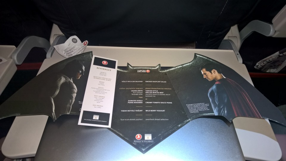 Turkish Airlines Economy Class Menu