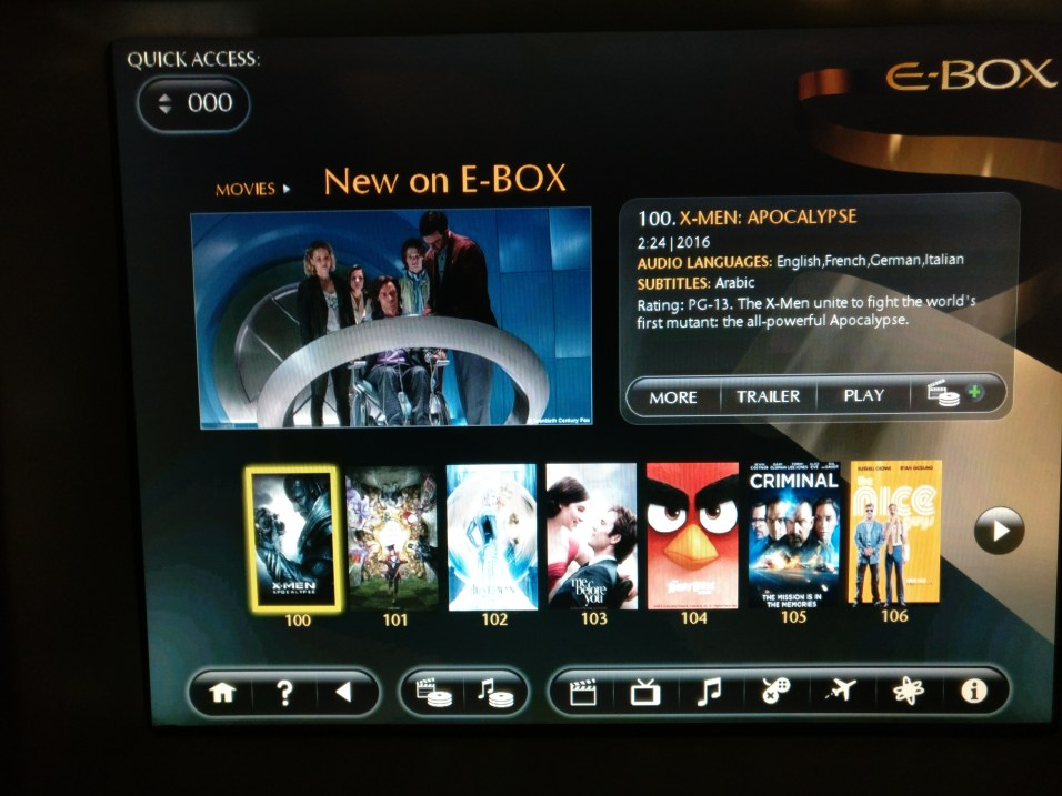 Etihad Business Class Airbus A340-600 Entertainment
