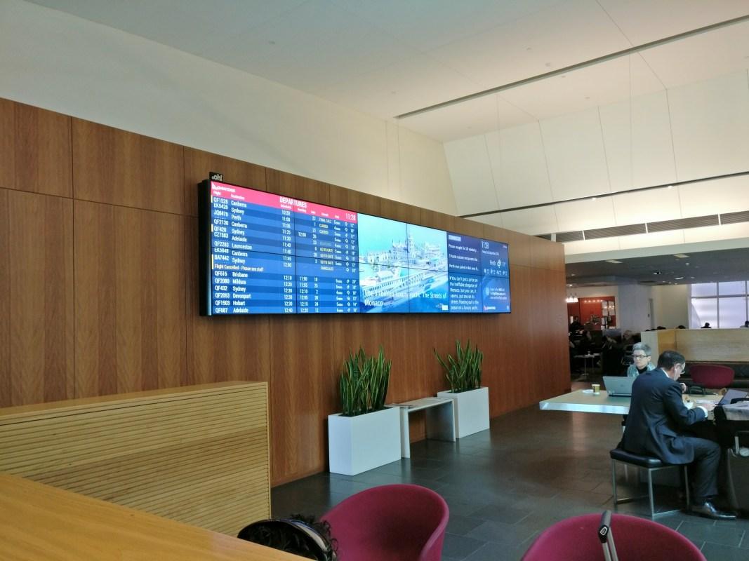 Qantas Club Melbourne Informaton Board