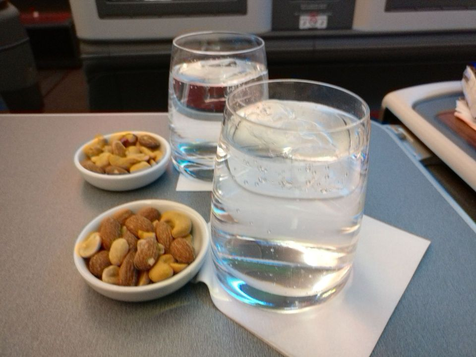 LATAM Business Class Boeing 787-9 Welcome Drink