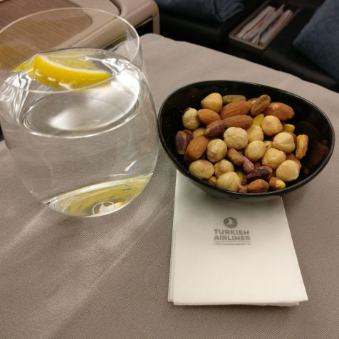 Turkish Airlines Business Class Airbus A330 Welcome Drink