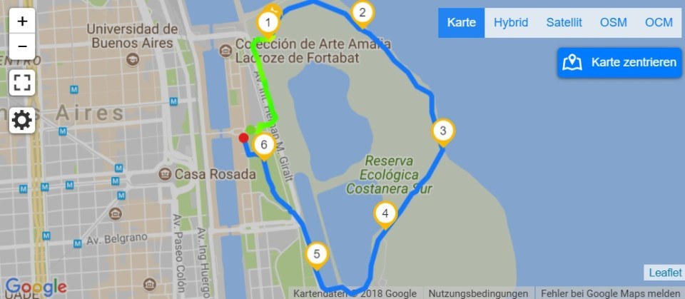 Map Running in Buenos Aires