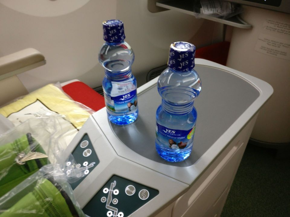 Ethiopian Airlines Business Class Boeing 787 Water