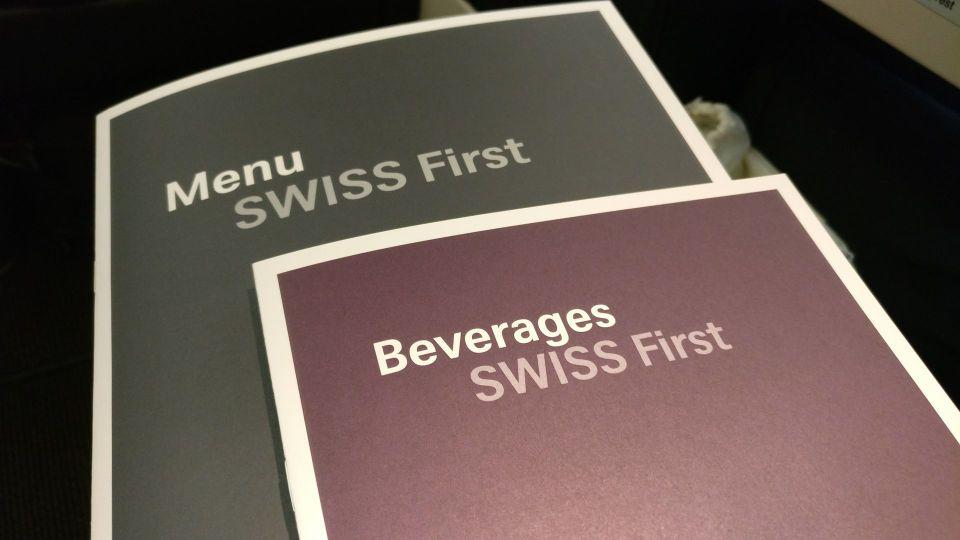 Swiss First Class Boeing 777 Menus