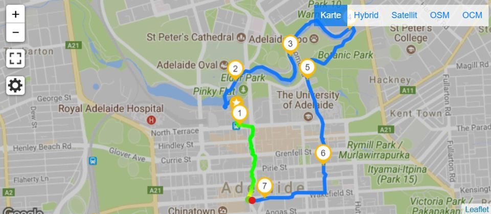 Map of Running in Adelaide