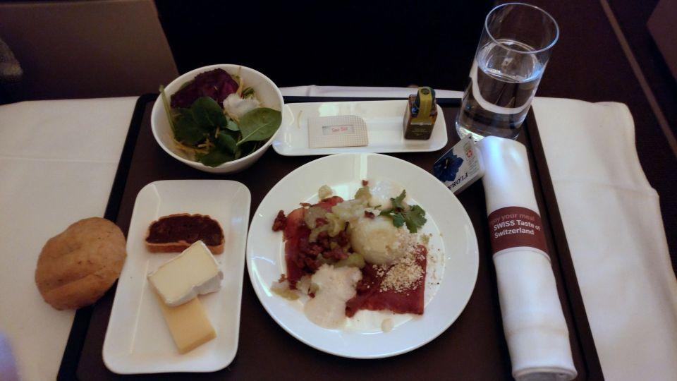Swiss Business Class Boeing 777 Dinner