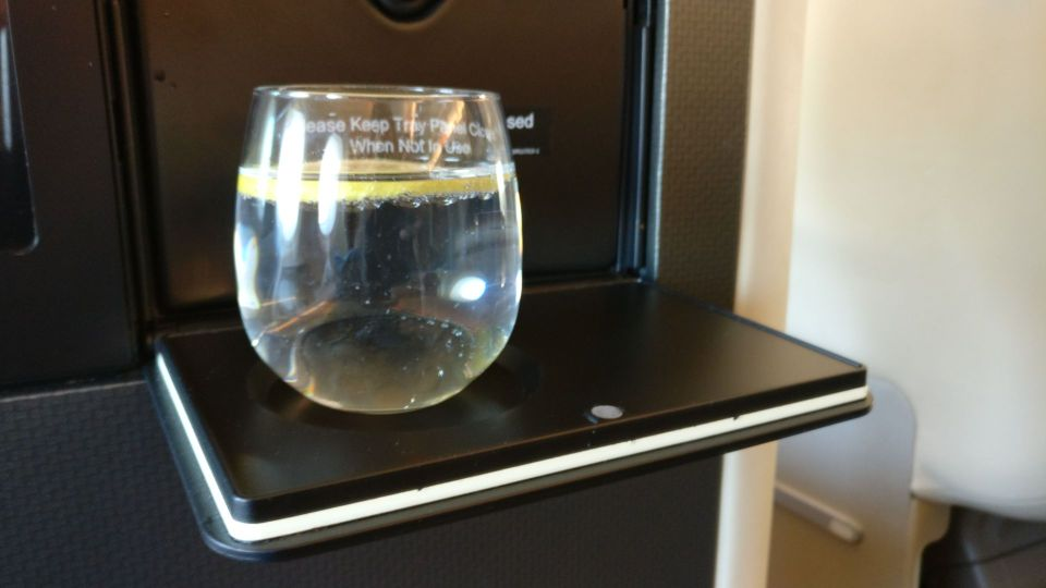 Singapore Airlines Business Class Airbus A380 Welcome Drink
