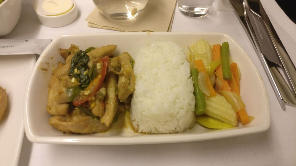 Cathay Pacific Business Class Boeing 777-300 Dinner