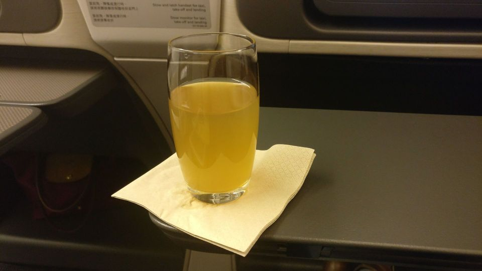 Cathay Pacific Business Class Boeing 777-300 Welcome Drink