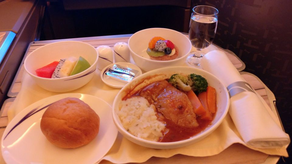 China Airlines Business Class Airbus A350 Dinner