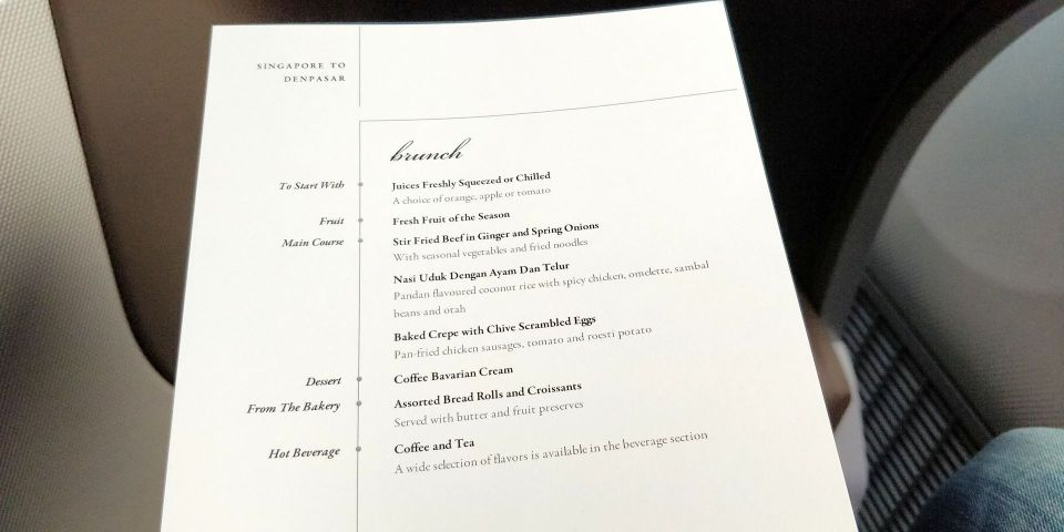 Singapore Airlines Business Class Boeing 787-10 Menu