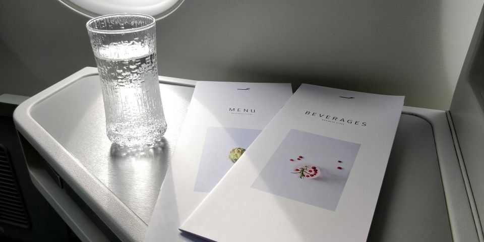 finnair business class airbus a350 welcome drink