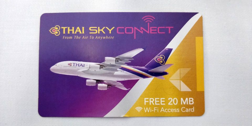 Thai Airways First Class Airbus A380 WLAN Voucher