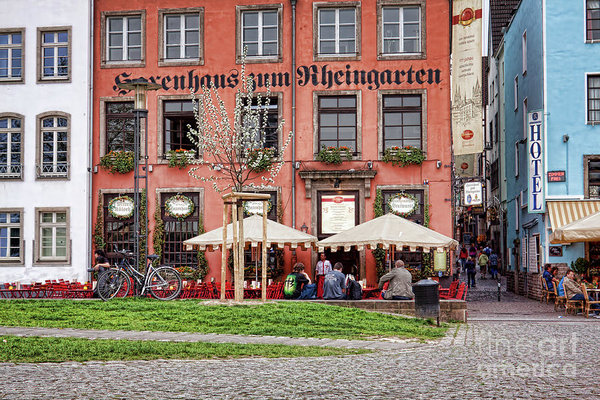 Sidewalk Cafe Art Print featuring the photograph Sidewalk Cafe In Cologne, Germany by Tatiana Travelways