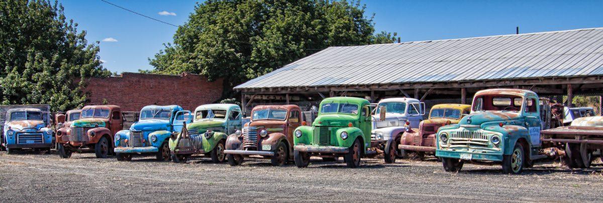 Old trucks in Sprague, Washington state