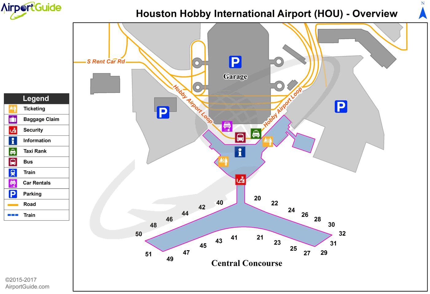 map houston hobby airport