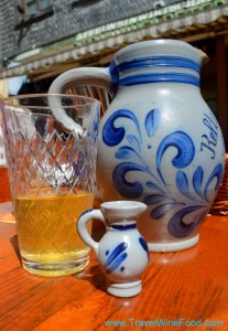 A jug and glass of Apfelwein in Frankfurt Germany