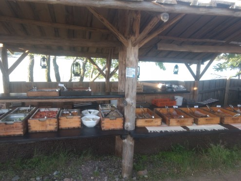The Dinner Buffet...variety of smoked fish and meat and much more..