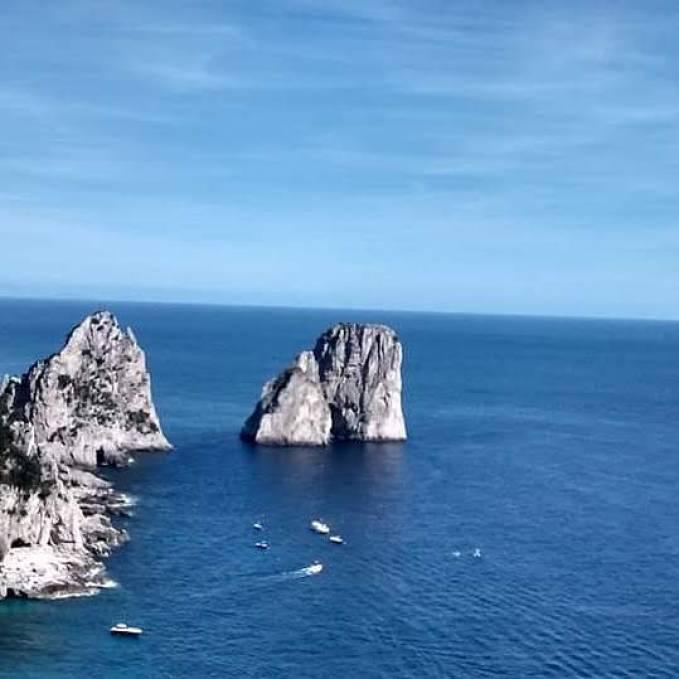 Faraglioni Rocks, Capri, Italy. On the way from Sorrento to Capri.