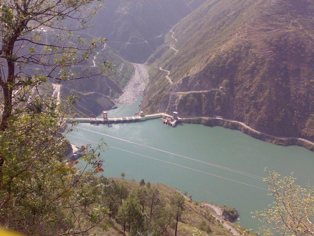 Chamera Lake near Dalhousie, a hill station in Himachal Pradesh, India