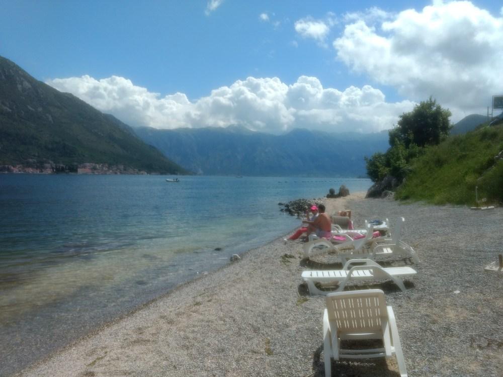 Perast town beach, Bay of Kotor, Montenegro, Europe
