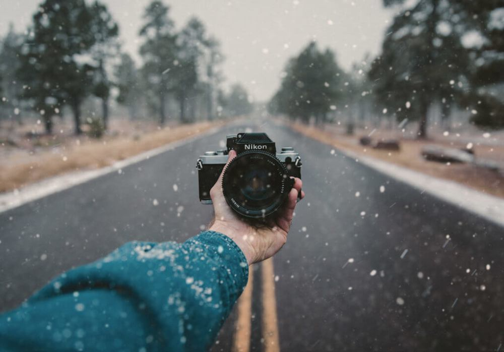 Taking photos in snow