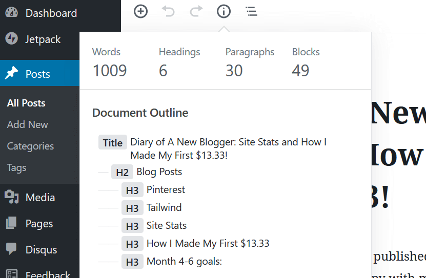 Screenshot of where to find blog post Word Count in wanting to make money as a new blogger