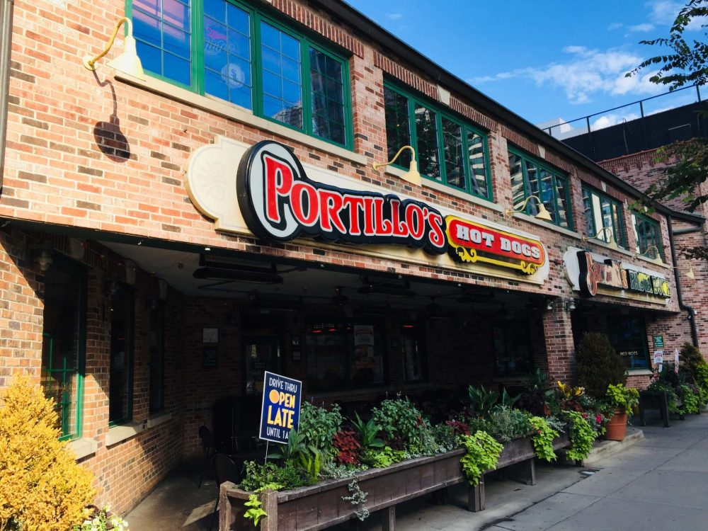 Top 5 Most Kid Friendly Restaurants in Downtown Chicago featured by top US family travel blog, Travel With a Plan: image of Portillo's Hot Dogs