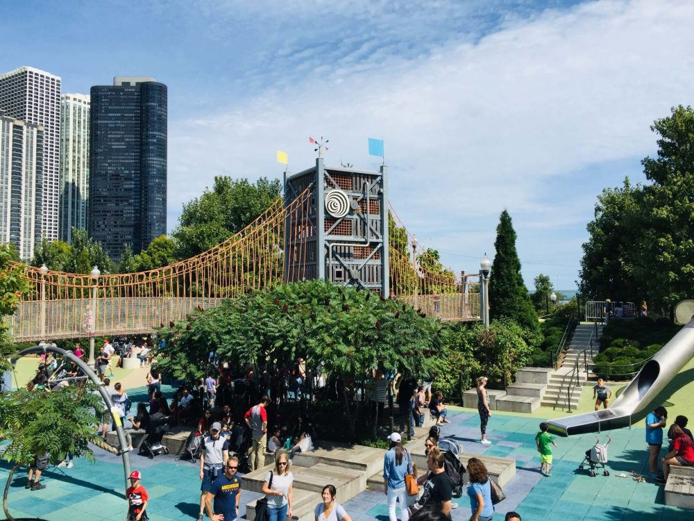 Chicago 3 day itinerary featured by top US family travel blog, Travel with a Plan: image of Maggie Daley Park