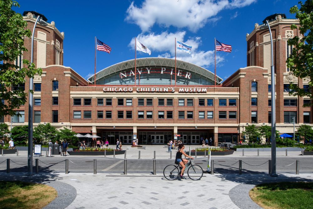 Top U.S. family travel blog, Travel With A Plan, features the best Chicago Food Tours for families! | Chicago Food Tours: Which One is Best For Families & Kids by popular family travel blog, Travel With a Plan: image of the Navy Pier entrance.
