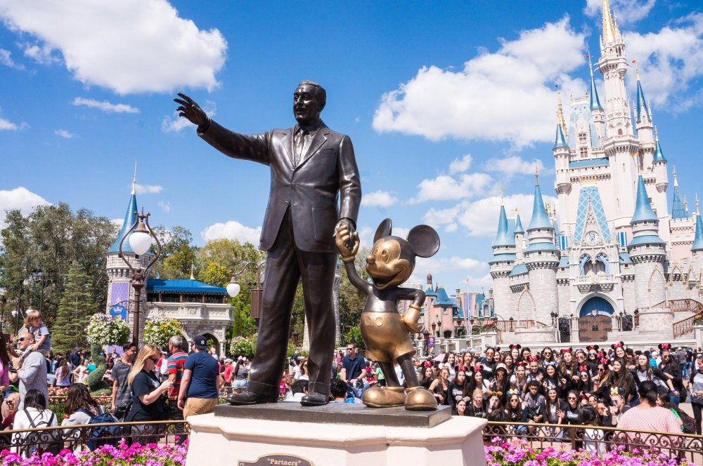 Orlando Itinerary; Walt Disney standing outside of Cinderella's Castle