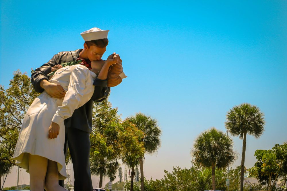 The Unconditional Surrender statue located close to your Siesta Key family vacation