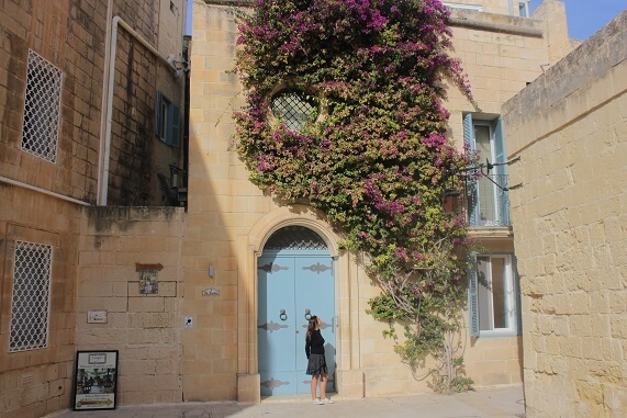 Honey colored house in Mdina with light blue door and pink flowers