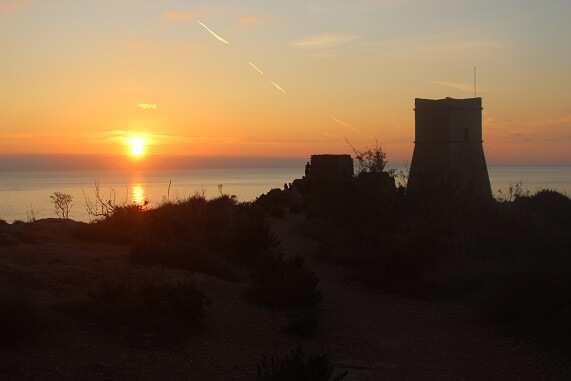 Sunset at Riviera Beach. The best spot to watch the sunset in Malta