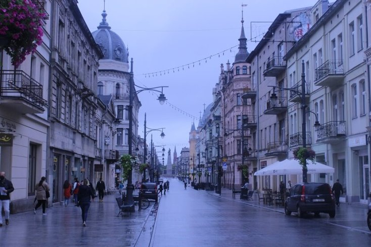 Piotrkowska street, the longest commercial street in Poland