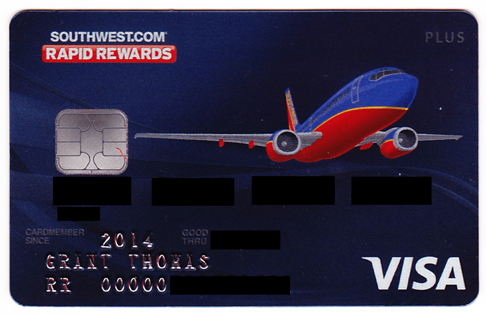South West Chase Credit Card Chip