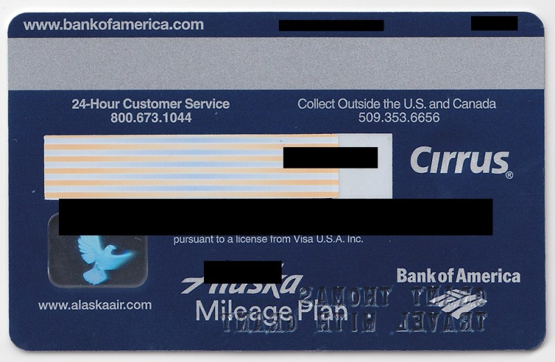 Bank of america business credit card travel rewards travelyok here is the front and back of bank america alaska airlines business visa credit card reheart Gallery