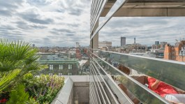 Bar panorama and the BT Tower through the slats