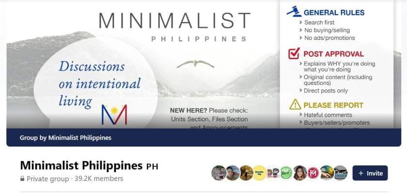 Facebook Groups for Minimalist Filipinos