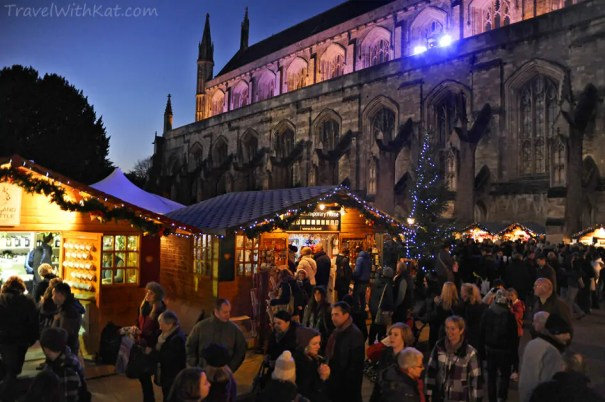 Winchester's Christmas Market at dusk