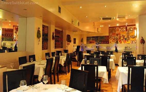 The interior of the Mela INdian Restaurant in the heart of London's West End