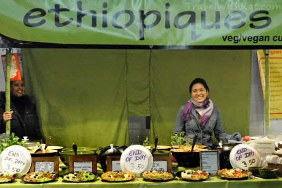 Ethiopian vegan food stall