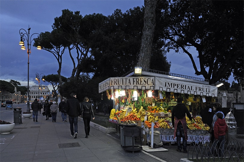 Fruit stall near the Colosseum, Rome at dusk