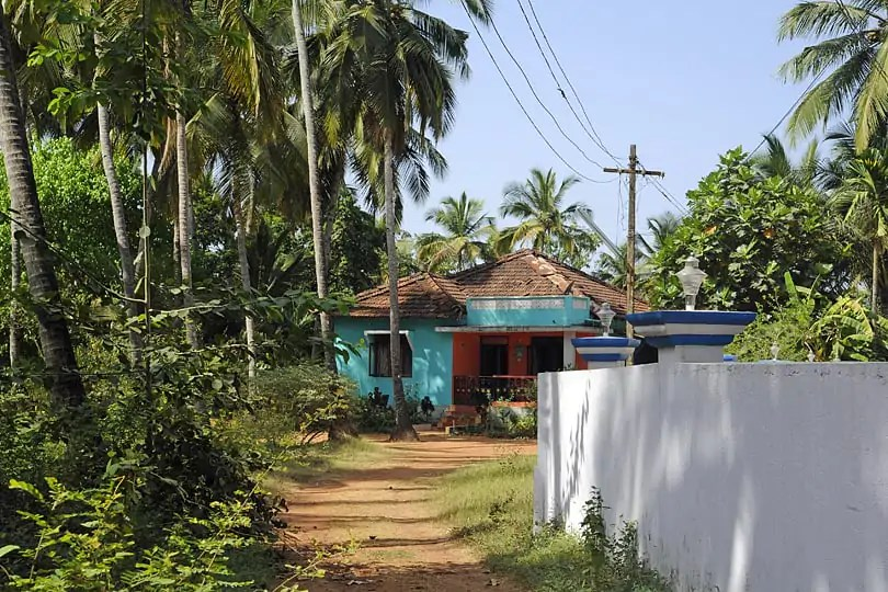Brightly painted house in Southern Goa