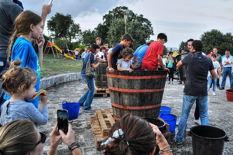 Grape harvest festival games, Locorotondo, Puglai, Italy