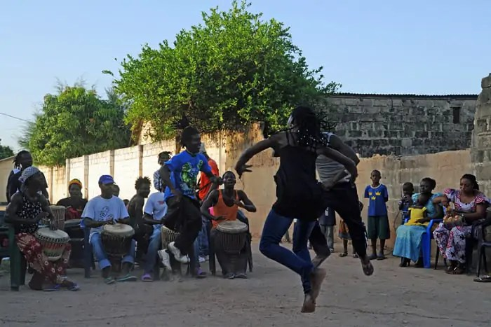Drumming and dancing at a traditional wedding in The Gambia, West Africa