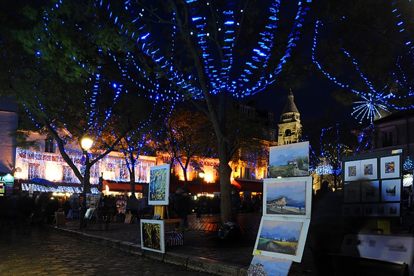 Place du Tertre, Montmartre, Paris at Christmas