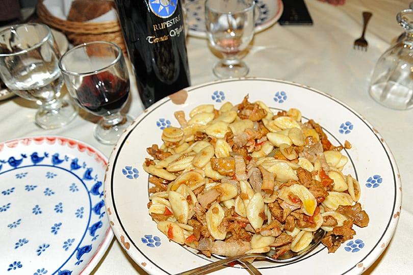 Wild musroom pasta in Cisternino, Puglia, Italy